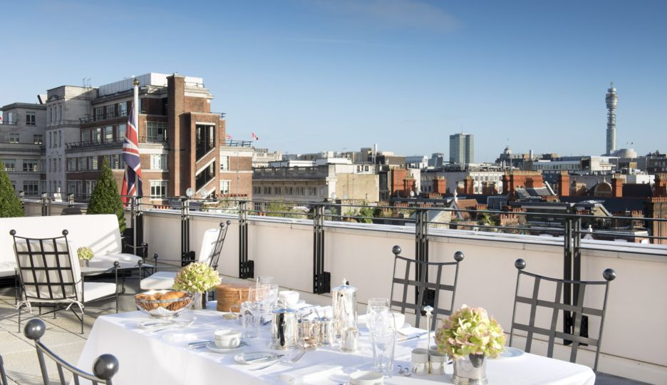 The Roosevelt Suite's terrace at The Beaumont Hotel, London