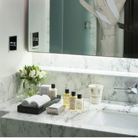 Bathroom amenities in a Mayfair Suite at The Beaumont Hotel