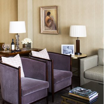 Sitting room and dining table in the Terrace Suite at The Beaumont Hotel in London
