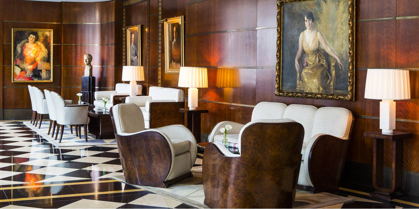 The Art Deco lobby at The Beaumont Hotel