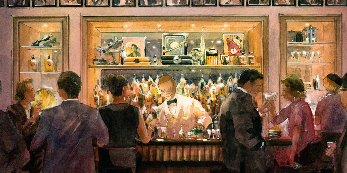 A drawing of The American Bar at The Beaumont Hotel in London